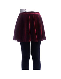 Trendy Claret-red Pure Color Decorated Simple Short Pleated Skirt