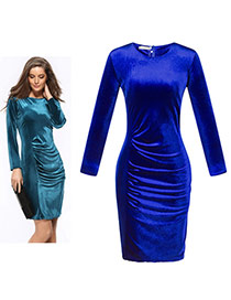 Trendy Sapphire Blue Pure Color Decorated Long Sleeve O Neckline Tight Dress