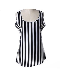 Fashion Black+white Strip Pattern Decorated Simple Design Sleeveless Garment