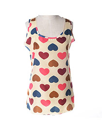 Fashion Multicolor Heart Pattern Decorated Simple Design Sleeveless Garment