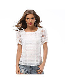 Trendy White Plaid Pattern Decorated Simple Design Short Sleeve Shirt