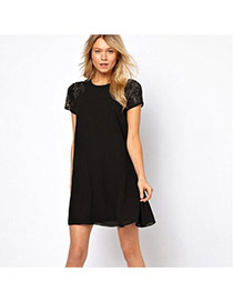 Trendy Black Lace Rose Flower Decorated Short Sleeve Pure Color Dress