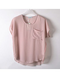 Trendy Pink Pocket Decorate Simple Pure Color Perspective T-shirt