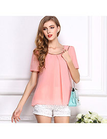 Fashion Pink O Shape Neckline Design Pure Color Short Sleeve Shirt