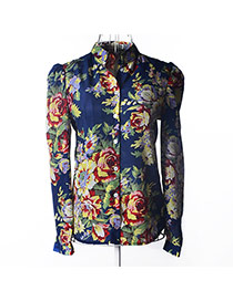 Trendy Dark Blue Flower Pattern Decorated Simple Design Long Sleeve Shirt