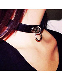 Elegant Black Metal Button Decorated Pure Color Simple Choker