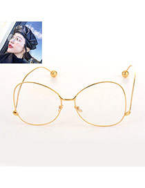 Fashion Gold Color Round Frame Crooked Leg Design Pure Color Glasses
