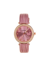 Lovely Purple Heart Shape Decorated Simple Strap Watch