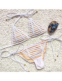 Fashion White Bandage Decorated Simple Design Pure Color Bikini
