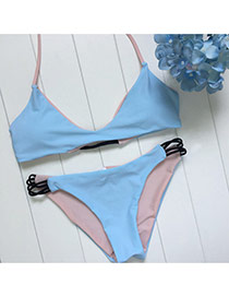 Trendy Pink+blue Bandage Decorated Color Matching Simple Design Bikini