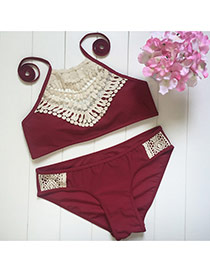 Retro Claret-red Hollow Out Knitting Pattern Decorated Simple Design Bikini
