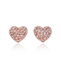 Fashion Rose Gold Diamond Decorated Simple Desgin Heart Shape Earrings