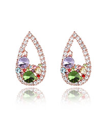 Elegant Multi-color Diamond Decorated Simple Desgin Waterdrop Shape Earrings