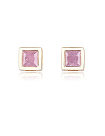 Trendy Purple+gold Color Diamond Decorated Simple Desgin Square Shape Earrings