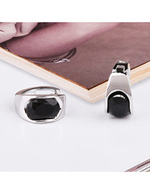 Fashion Black+silver Color Diamond Decorated Simple Desgin Pure Color Earrings