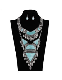 Vintage Blue+silver Color Multielement Shape Decorated Simple Design Jewelry Sets