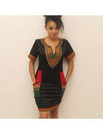 Sexy Black+green Geometric Shape Pattern Decorated Short Sleeve Dress