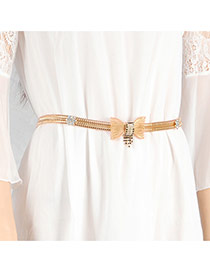 Fashion Gold Color Diamond& Bowknot Decorated Simple Design Waist Chain