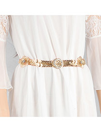 Elegant Gold Color Round& Flower Shape Decorated Hollow Out Waist Chain