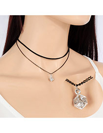 Fashion Silver Color Square Shape Pendant Decorated Double Layer Choker