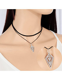 Personlity Silver Color Hollow Out Triangle Pendant Decorated Double Layer Choker