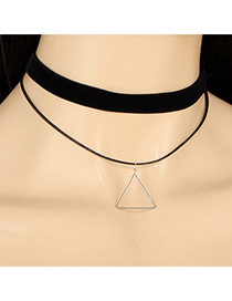 Trendy Black Hollow Out Triangle Pendant Decorated Pure Color Choker