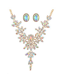 Fashion Multi-color+gold Color Oval Shape Diamond Decorated Hollow Out Simple Jewelry Sets