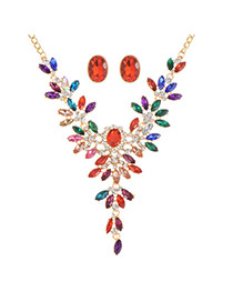 Fashion Multi-color Oval Shape Diamond Decorated Hollow Out Simple Jewelry Sets