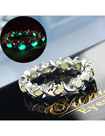 Vintage Green Hollow Out Heart Shape Decorated Noctilucence Ring