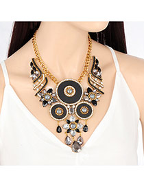 Vintage Black Round Shape Decorated Hollow Out Necklace
