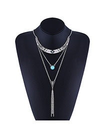 Delicate Silver Color Long Tassel&round Shape Diamond Decorated Multilayer Simple Necklace