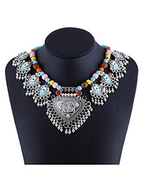 Exaggerate Multi-color Hollow Out Heart Shape Pandent Decorated Simple Necklace
