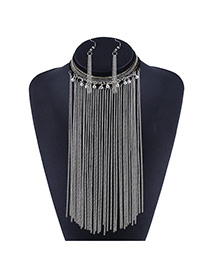 Fashion Silver Color Long Tassel&round Ball Decorated Simple Design Jewelry Sets