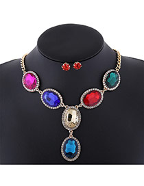 Trendy Multi-color Oval Shape Diamond Decorated Short Chain Jewelry Sets