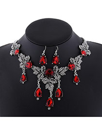 Fashion Red+silver-color Water Drop Shape Diamond Decorated Leaf Shape Jewelry Sets
