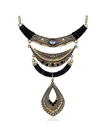 Fashion Black Hollow Out Waterdrop Shape Pendant Decorated Irregualr Shape Necklace