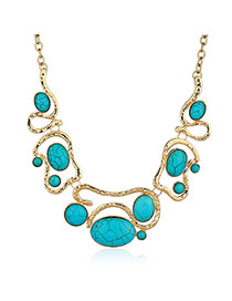 Fashion Blue+golden Color Oval Shape Diamond Decorated Hollow Out Necklace