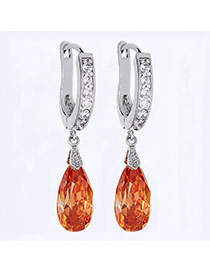Elegant Yellow Waterdrop Shape Diamond Decorated Simple Design Earrings