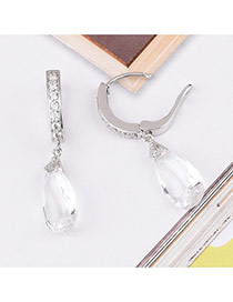 Elegant White Waterdrop Shape Diamond Decorated Simple Design Earrings