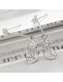 Fashion White Diamond Decorated Cat Shape Simple Earrings