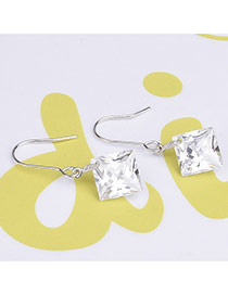 Elegant White Square Shape Diamond Decorated Simple Design Earrings