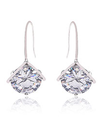 Fashion White Round Shape Diamond Decorated Simple Design Earrings