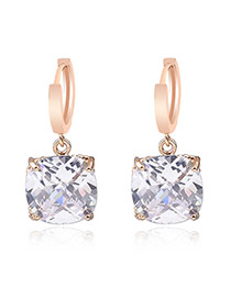 Sweet White+golden Color Square Shape Diamond Decorated Simple Design Earrings