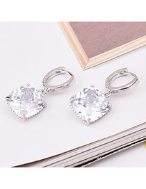 Sweet White+silver Color Square Shape Diamond Decorated Simple Design Earrings