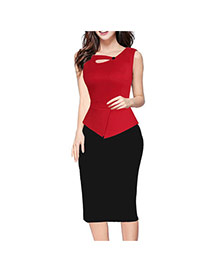 Fashion Red Color Matching Design Sleeveless Package Hip Patchwork Long Dress