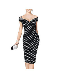 Sexy Black Dots Pattern Decorated Off-the-shoulder Package Hip Strap Dress