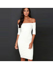 Sexy White Pure Color Design Off-the-shoulder Package Hip Slim Long Dress