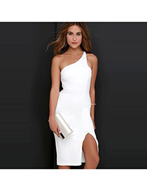 Sexy White One-shoulder Design Pure Color Package Hip Split Long Dress