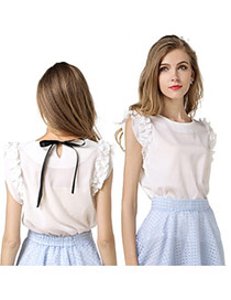 Trendy White Bowknot Decorated Round Neckline Sleeveless Simple Chiffon Blouse