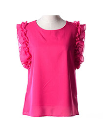 Trendy Plum Red Bowknot Decorated Round Neckline Sleeveless Simple Chiffon Blouse